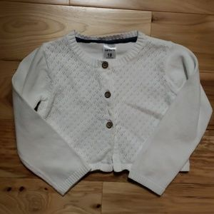 White Cardigan with Button Closure - 18 mo